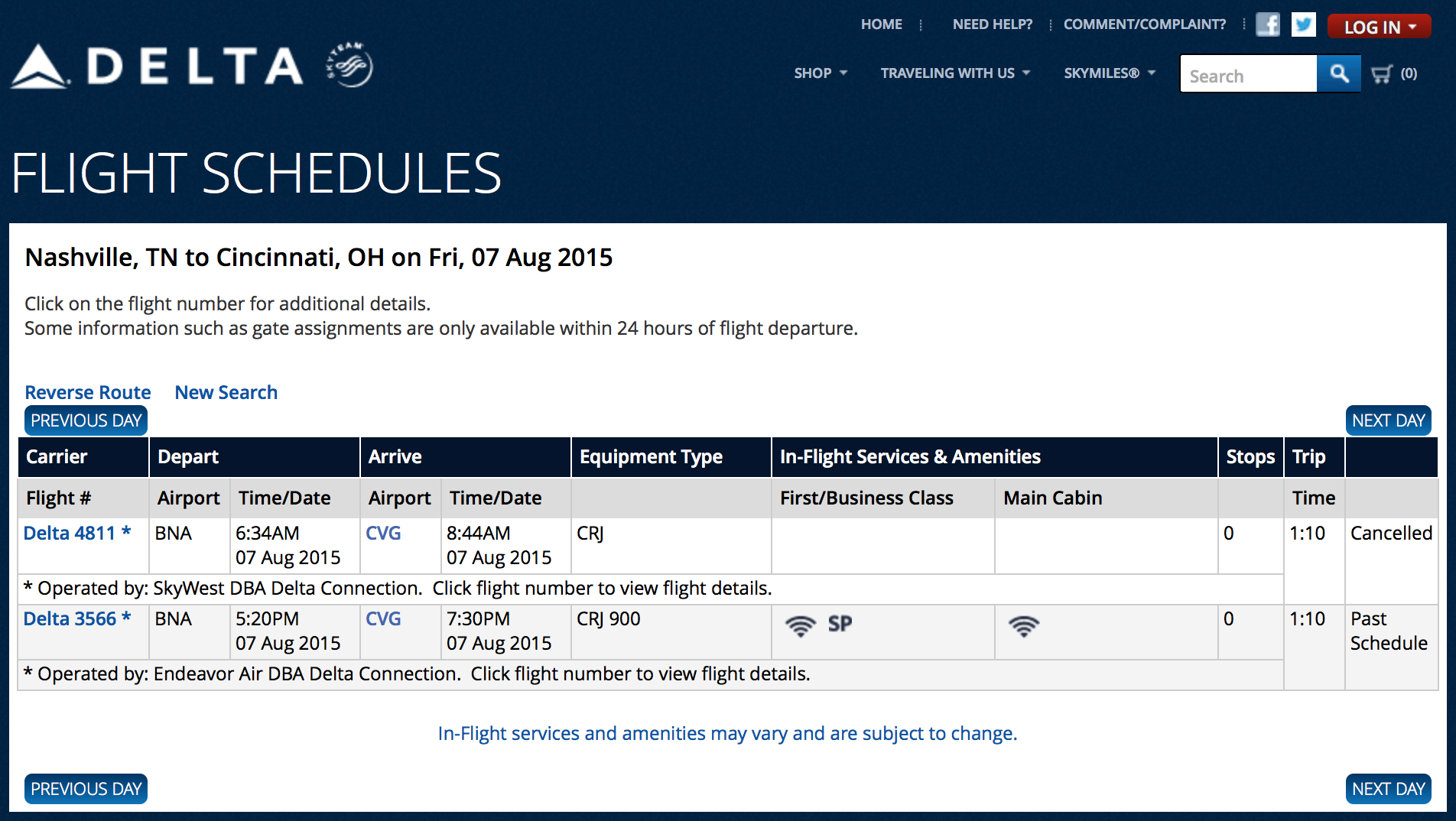 The aircraft operating as Delta Air Lines flight 4811 was cancelled as a result of the incident. Source: The official Internet web site of Delta Air Lines.
