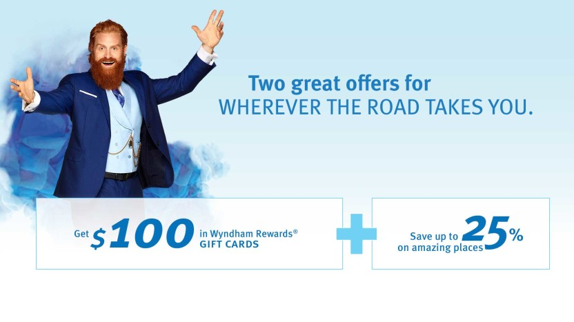 $100.00 Wyndham Rewards Gift Cards promotion Spring 2016