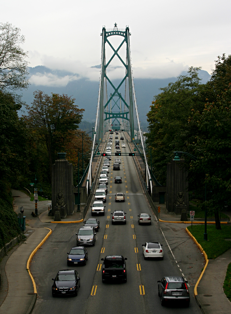 Overlooking The Lions Gate Bridge In Vancouver The