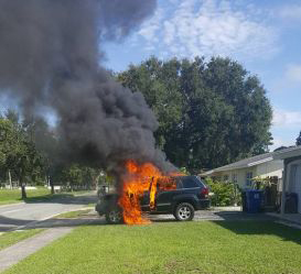 2005 Jeep Grand Cherokee burned by Samsung Galaxy Note7