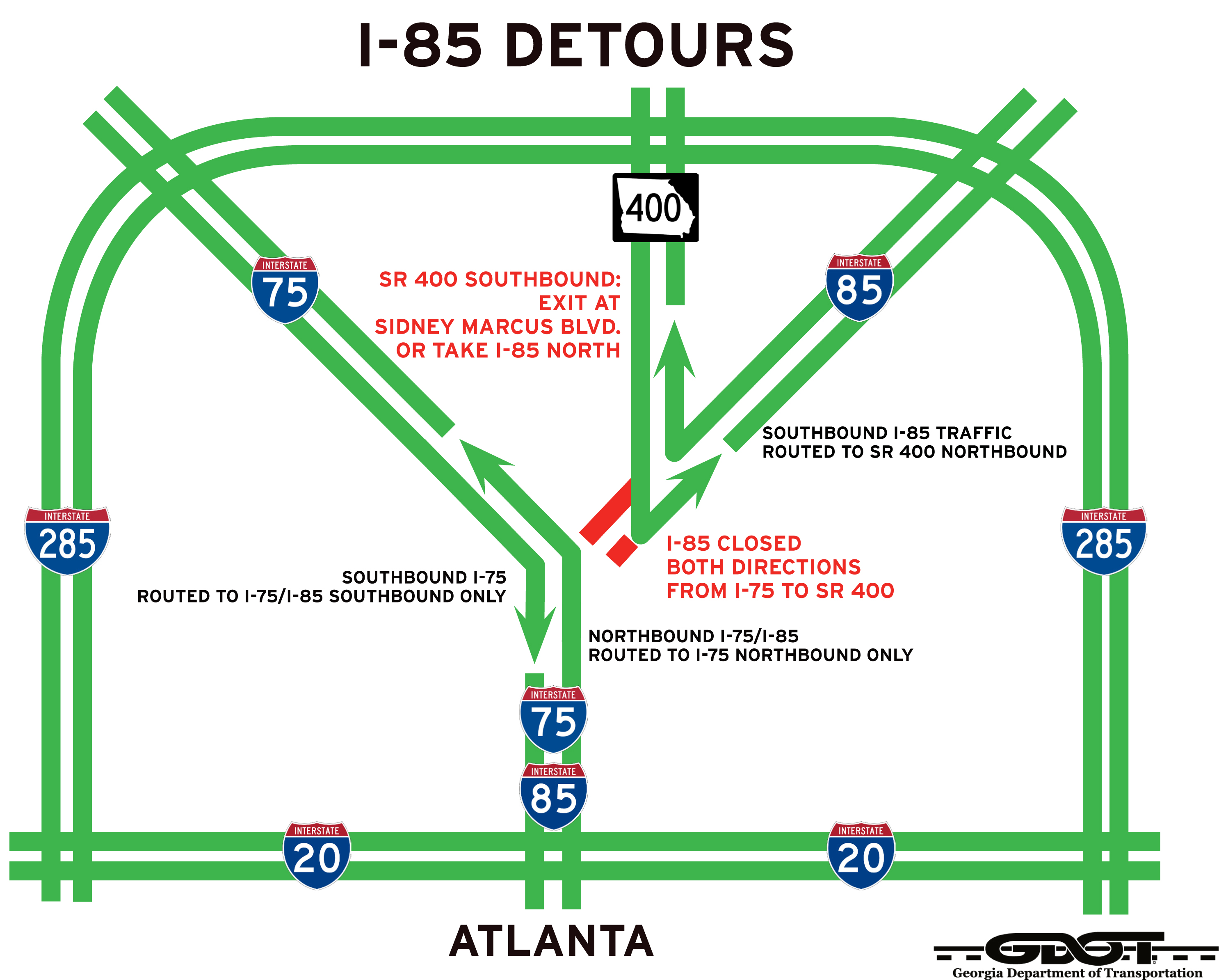 Map of detours for Interstate 85 in Atlanta
