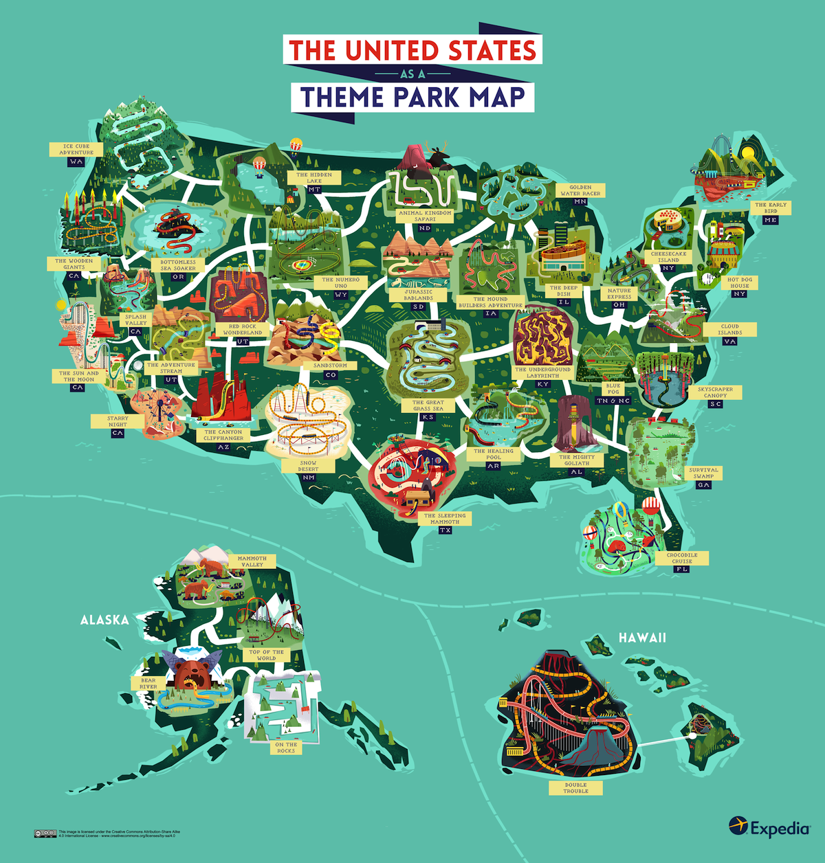 Map of the United States as a Theme Park. Would It Look Like This ...