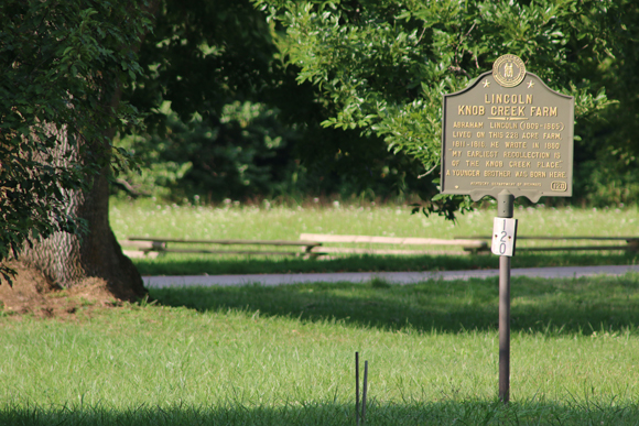 This historical marker informs visitors about Abraham Lincoln living at Knob Creek as a little boy. His younger brother was born here. Photograph ©2014 by Brian Cohen.