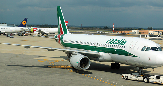Alitalia airplane with Lufthansa in the background