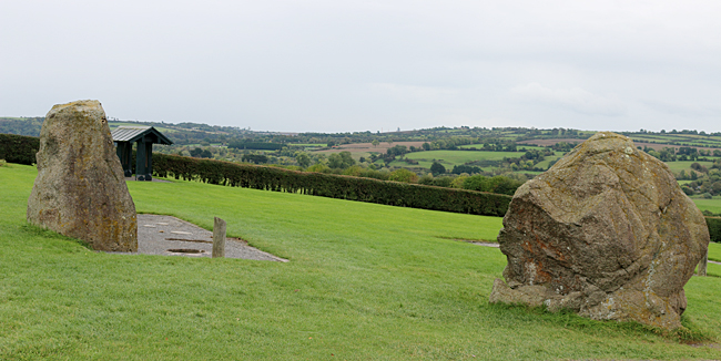 Two of the stones which surround Newgrange. Photograph ©2014 by Brian Cohen.