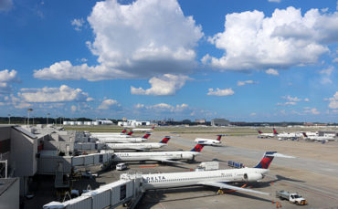 Delta Air Lines airplanes view from Sky Club Concourse B Atlanta airport