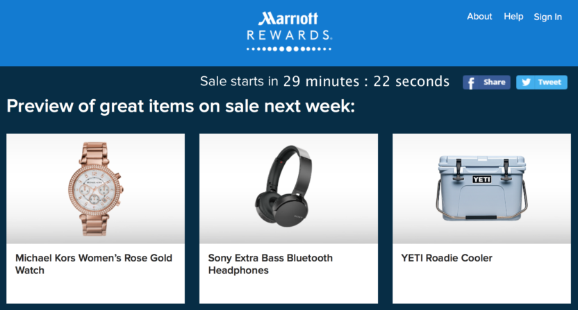 Marriott Rewards Flash Sale on Merchandise 2017