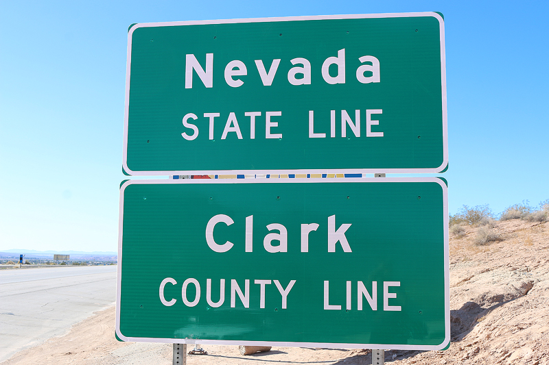 Nevada state line Clark County signs