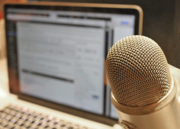 Microphone at laptop computer