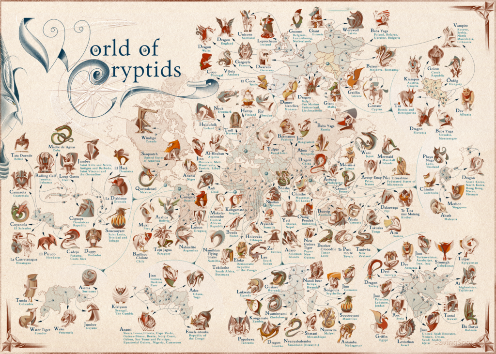 The Most Famous Mythical Creature of Every Country in the World — Illustrated